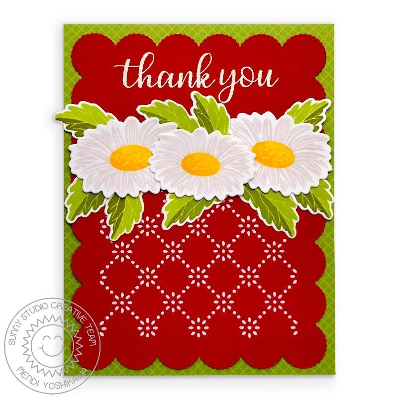 Sunny Studio Stamps Cheerful Daisies Red, White & Green Layered Daisy Handmade Thank You Card (using Everyday Greetings Clear Stamps)