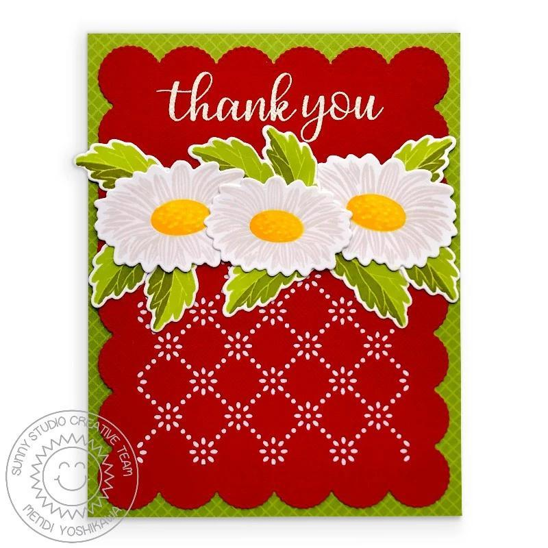 Sunny Studio Stamps Cheerful Daisies Red Daisy Handmade Thank You Card (using Frilly Frames Eyelet Lace Background Dies)