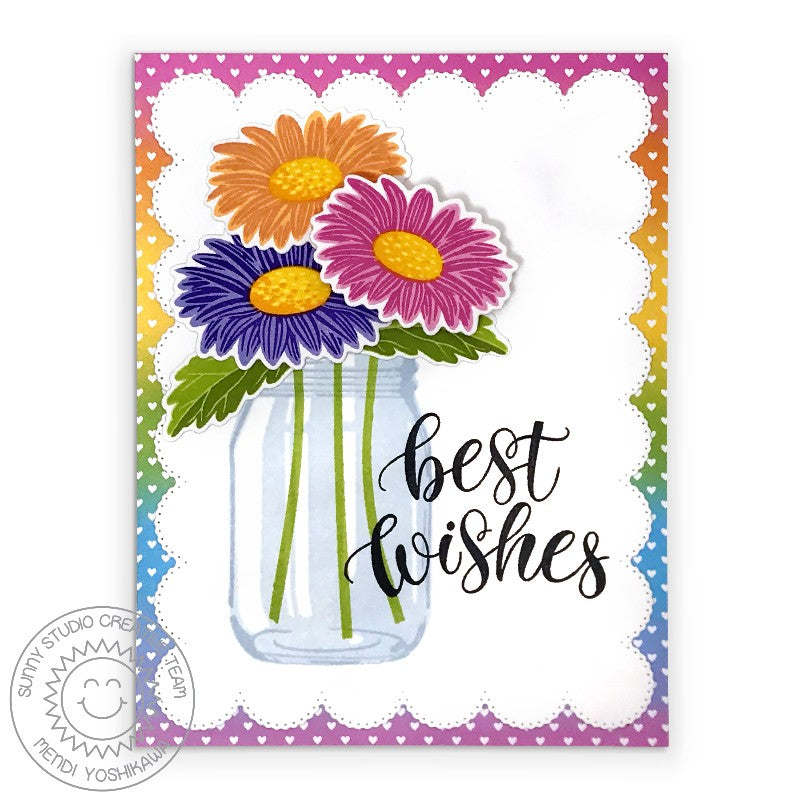 "Sunny Studio Stamps Cheerful Daisies Layered Rainbow Daisy in Jar Vase ""Best Wishes"" Wedding Card by Mendi Yoshikawa"