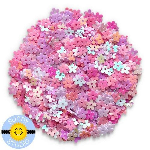 Sunny Studio Stamps Pink & White Iridescent Mini Flower Sequin Confetti Embellishments for Shaker Cards