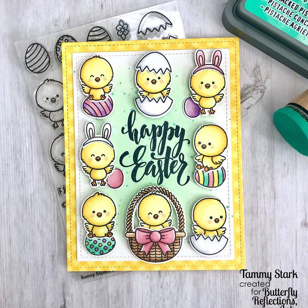 Sunny Studio Happy Easter Yellow Gingham Chick Grid Style Handmade Card (using Chickie Baby 4x6 Clear Photopolymer Clear Stamp Set)