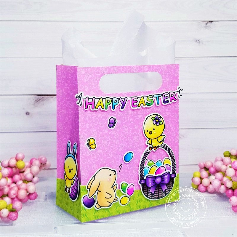 Sunny Studio Stamps Happy Easter Chick & Bunny Basket with Eggs Gift Bag (using Sweet Treats Bag Cutting Die)