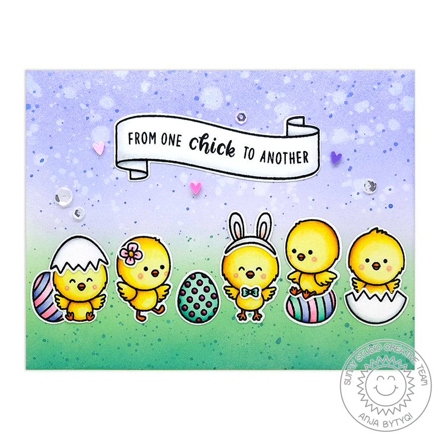 Sunny Studio Stamps From One Chick To Another Easter Eggs Handmade Card (using Banner Basics 4x6 Photopolymer Clear Stamps)