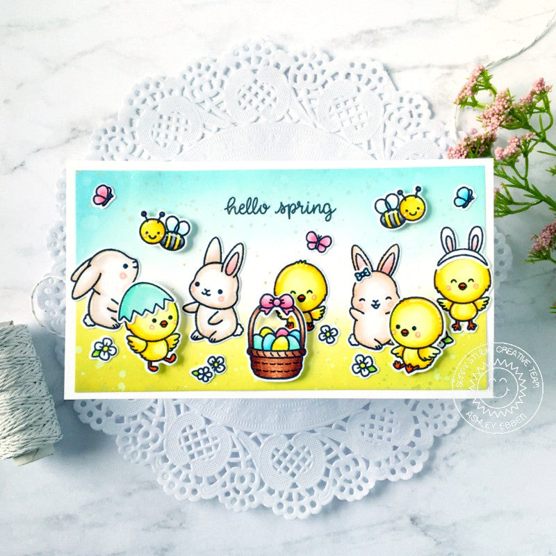 Sunny Studio Stamps Hello Spring Easter Bunny, Chick, Bumblebee & Butterfly Handmade Card (using Chickie Baby 4x6 Clear Photopolymer Stamp Set)