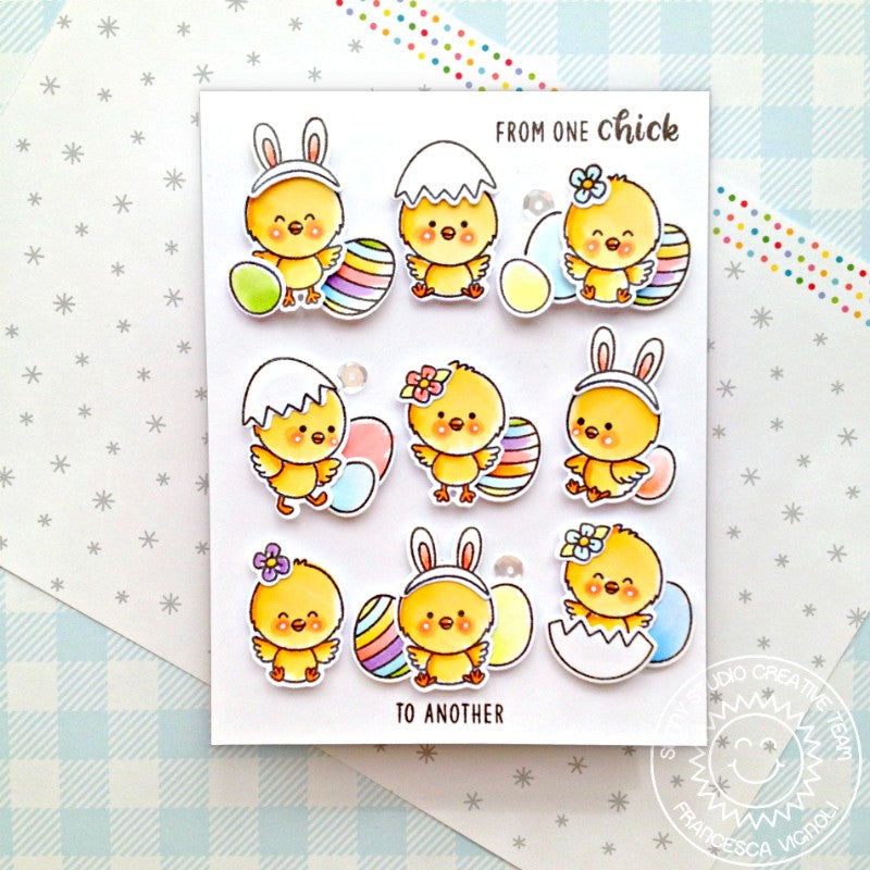 Sunny Studio Stamps From One Chick To Another Friendship Grid Style Easter Handmade Card (using Chickie Baby 4x6 Clear Photopolymer Stamp Set)