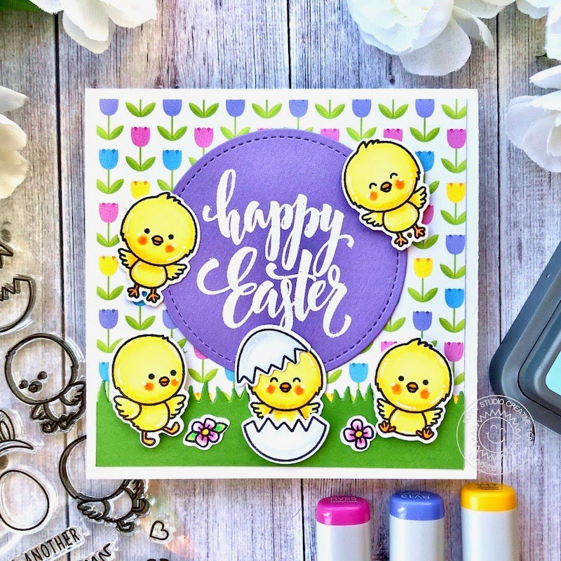 Sunny Studio Stamps Easter Chicks with Cracked Egg & Tulips Handmade Card (using Chickie Baby 4x6 Clear Photopolymer Stamp Set)
