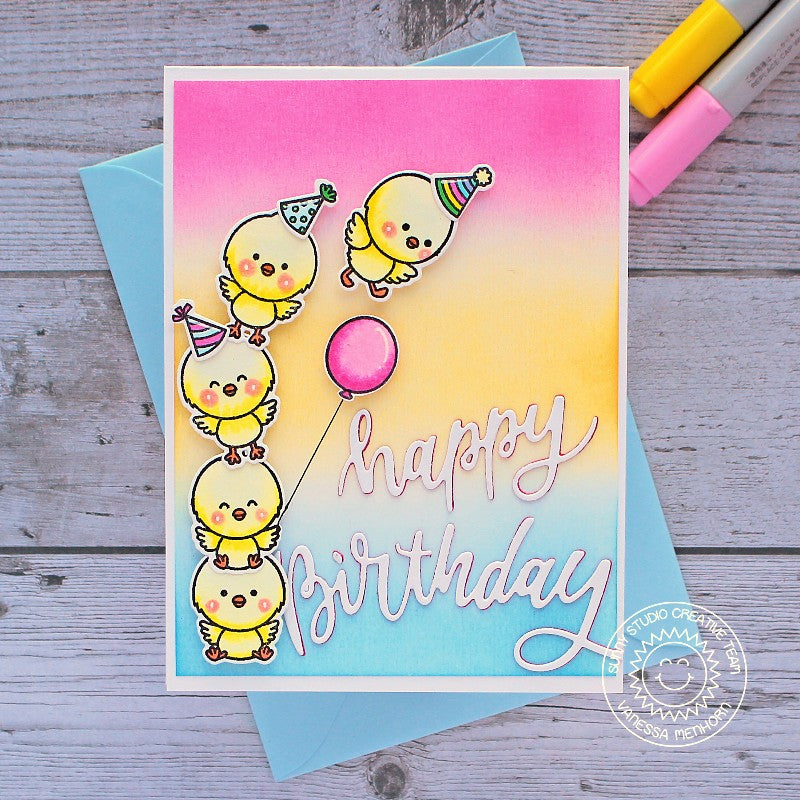 Sunny Studio Stamps Happy Birthday Pink, Yellow & Blue Stacked Chicks with Balloon Handmade Card (using Chickie Baby 4x6 Clear Photopolymer Stamp Set)