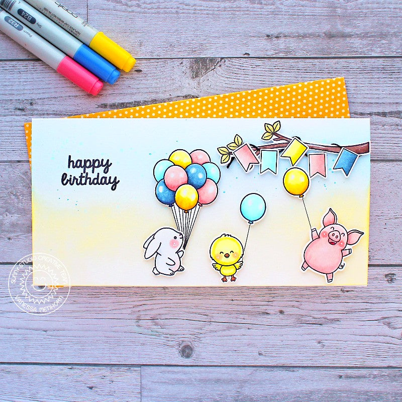 Sunny Studio Stamps Bunny, Chick & Pig Birthday Party with Balloons Handmade Card (using Banner Basics 4x6 Clear Photopolymer Stamp Set)
