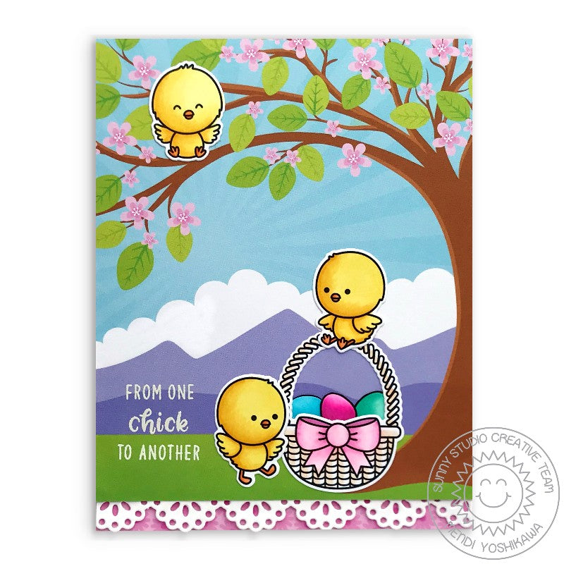 Sunny Studio Stamps Chickie Baby From One Chick To Another Handmade Easter Card with Cherry Blossom Tree (using Eyelet Lace Border Die)