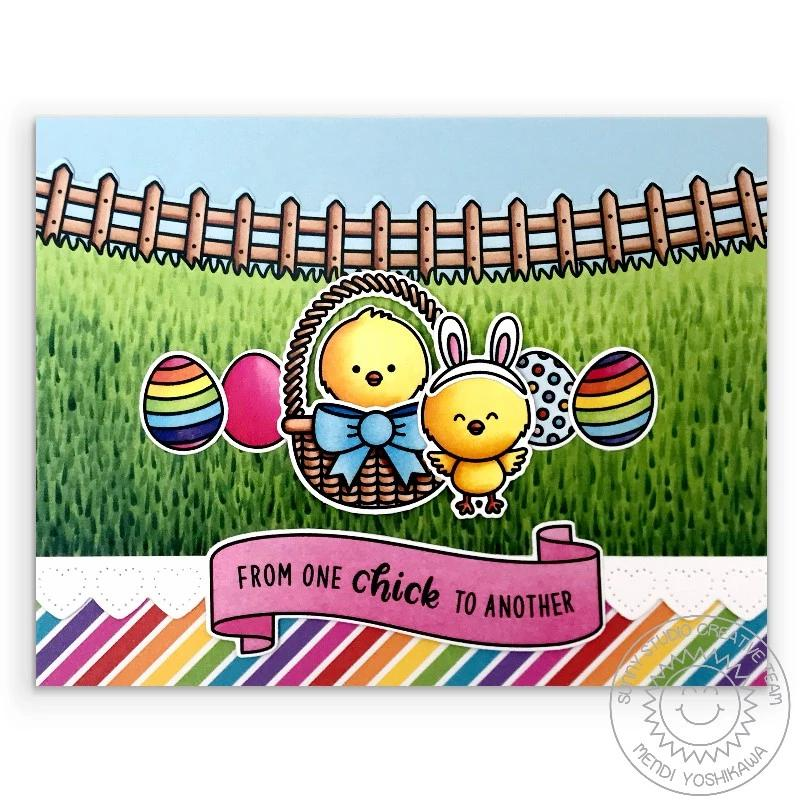 Sunny Studio From One Chick To Another Handmade Rainbow Easter Card with Grass and Curved Fence (using Spring Scenes 4x6 Border Clear Stamps)