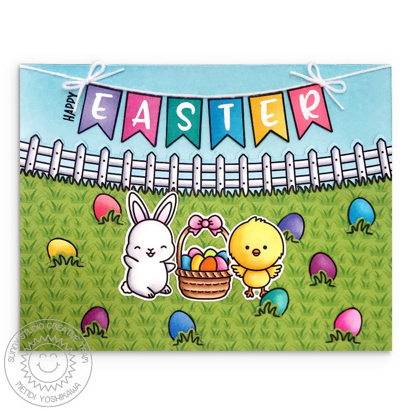 Sunny Studio Bunny Rabbit and Chick having Egg Hunt in Grass Handmade Easter Card by Mendi Yoshikawa (using Banner Basics 4x6 Clear Stamps)
