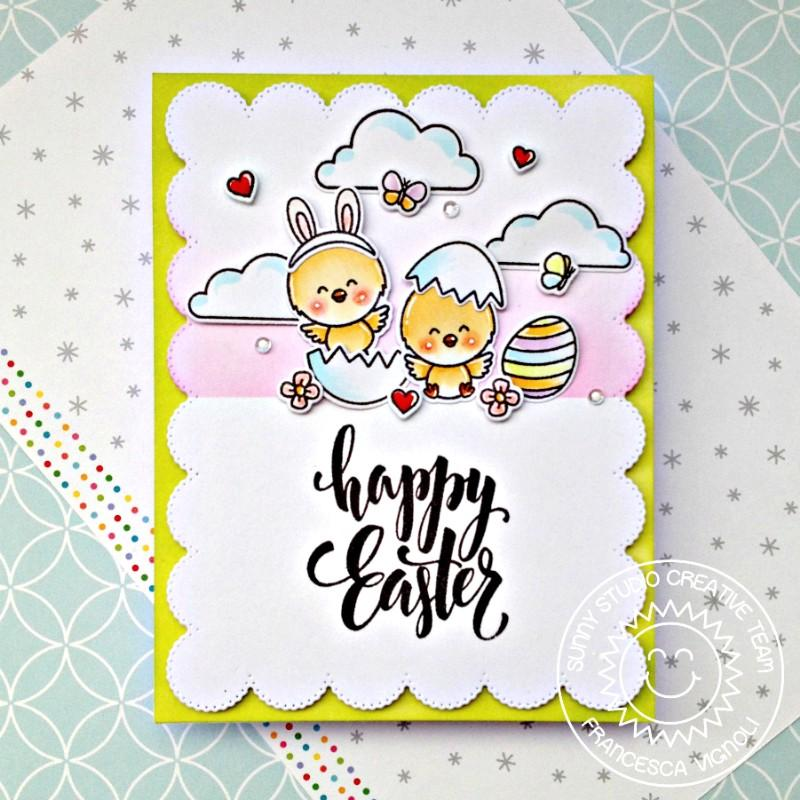 Sunny Studio Stamps Chickie Baby Happy Easter Chick with Egg & Bunny Ears Card by Franci