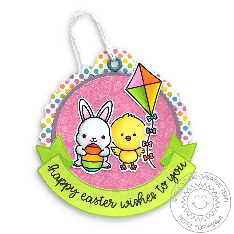 Sunny Studio Rainbow Polka-dot Bunny and Chick with Kite and Striped Egg Handmade Easter Gift Tag by Mendi Yoshikawa (using Banner Basics 4x6 Clear Stamps)