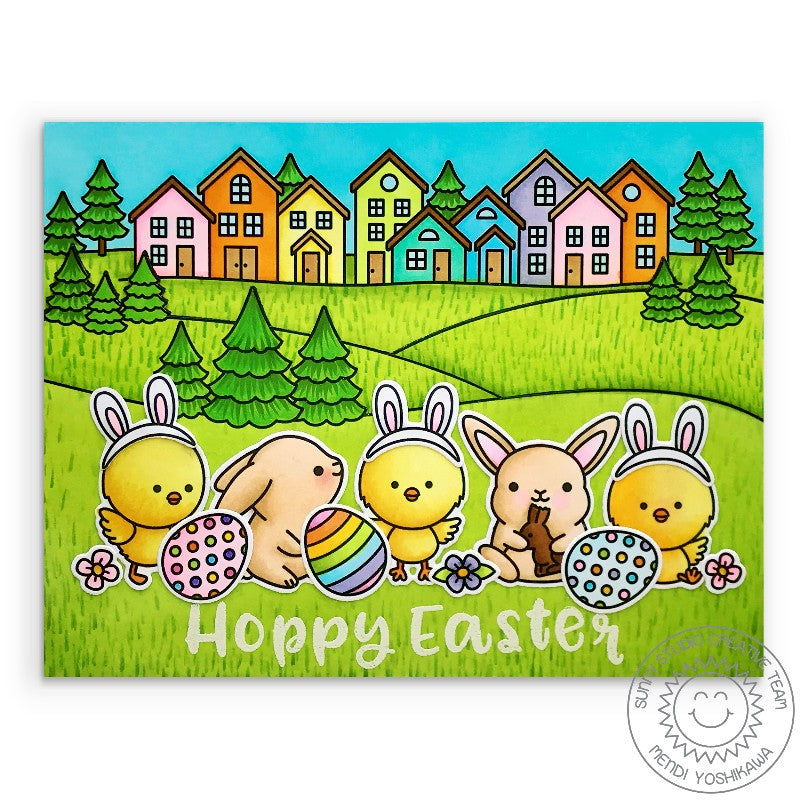 Sunny Studio Stamps Chicks Dressed As Bunnies with Bunny and Eggs Scene Handmade Easter Card (using Chickie Baby Stamp Set)