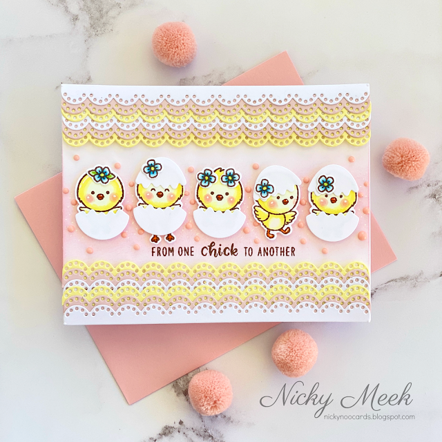 Sunny Studio Stamps Scalloped Easter Chick in Cracked Eggs Handmade Card (using Eyelet Lace Border Cutting Dies)