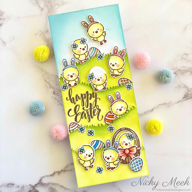 Sunny Studio Stamps Happy Easter Slimline Chick Handmade Spring Card (using Chickie Baby 4x6 Clear Stamps)