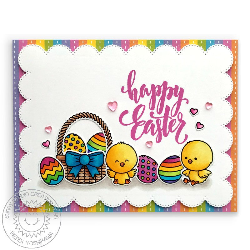 Sunny Studio Stamps Chickie Baby Happy Easter Basket with Chicks & Rainbow Eggs Handmade Card (using Spring Fling 6x6 Striped Patterned Paper)