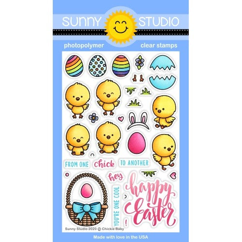 Sunny Studio Stamps Chickie Baby Easter Chick 4x6 Photopolymer Clear Stamp Set