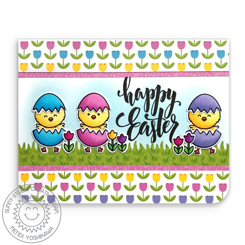 Sunny Studio Stamps Chickie Baby Happy Easter Chicks with Tulip Border Handmade Card (using Spring Fling 6x6 Paper)