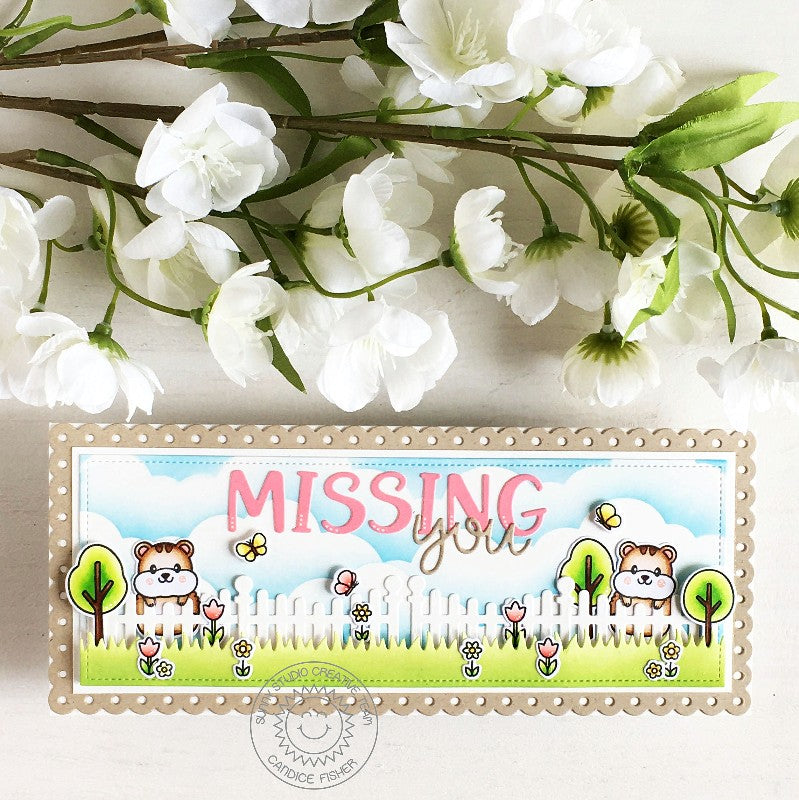 Sunny Studio Stamps Missing You Hamsters with butterflies and Fence Slimline Card (using Scalloped Fence Metal Cutting Dies)