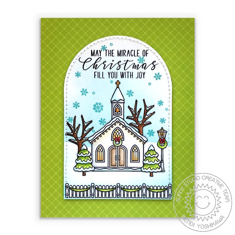 Sunny Studio Stamps May The Miracle of Christmas Fill You With Joy Handmade Card (using Classic Sunburst Green Diagonal Grid Double Sided Patterned Paper)