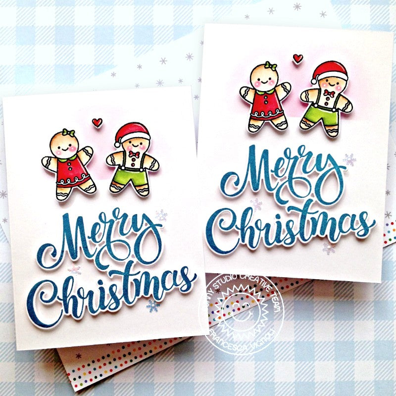 Sunny Studio Stamps Merry Christmas Gingerbread Girl & Boy Holiday Card Set (using Season's Greetings Stamps & Shadow Word Dies)