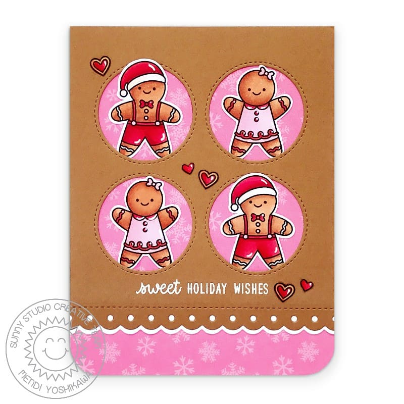 Sunny Studio Sweet Holiday Wishes Gingerbread Christmas Card (using Window Quad Circle Metal Cutting Dies)