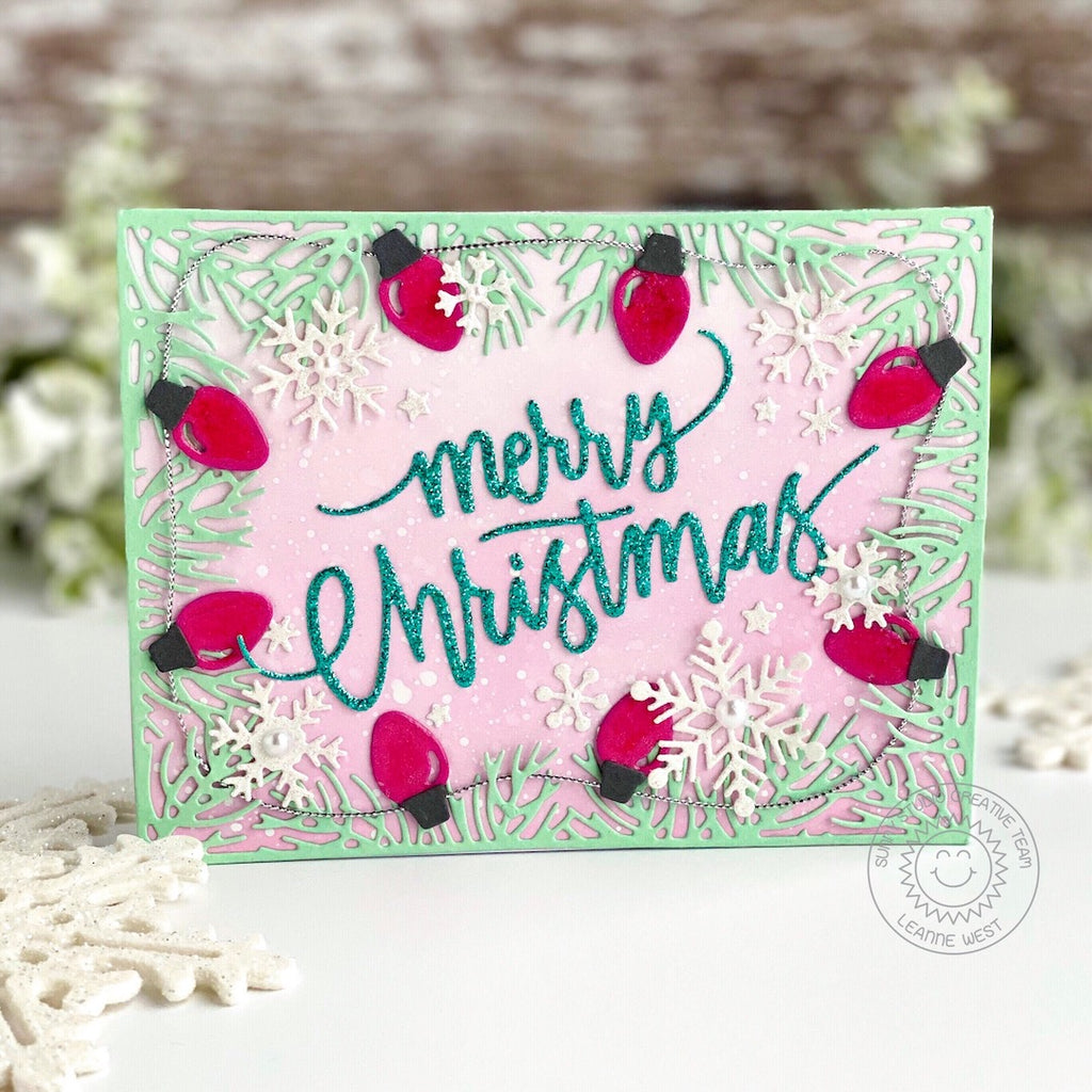 Sunny Studio Stamps Merry Christmas Red Light bulbs Holiday Card (using Basic Mini Shape 3 Exclusive Metal Cutting Dies)