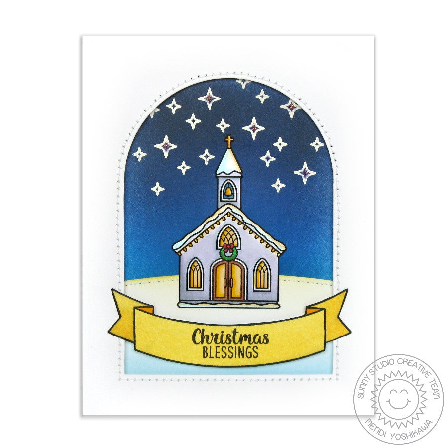Sunny Studio Stamps Christmas Blessings Church Card with arched window using Sunny Semi Circles dies