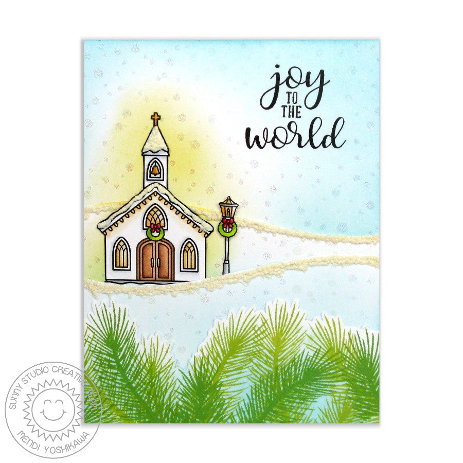 Sunny Studio Stamps Festive Greetings Joy To the World Church Card by Mendi Yoshikawa