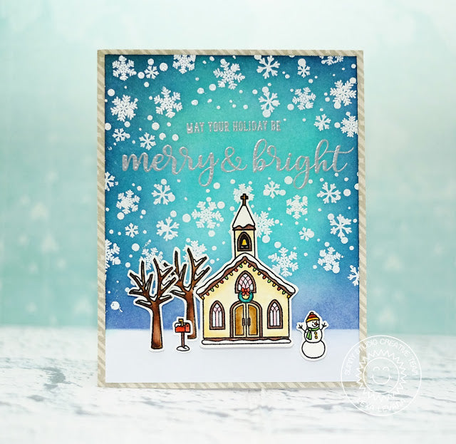 Sunny Studio Stamps Snow Flurries Church Merry & Bright Card