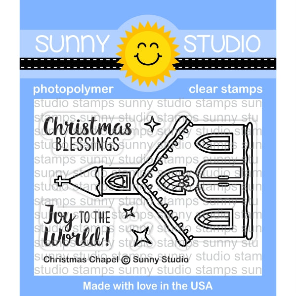 Sunny Studio Stamps Christmas Chapel Holiday Church 2x3 Photo-polymer Clear Stamp Set