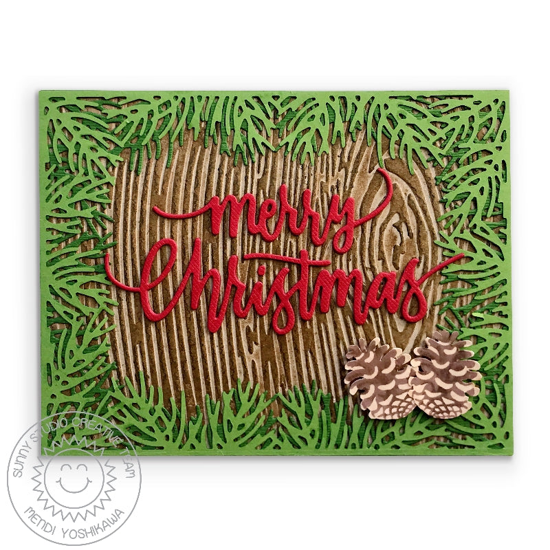 Sunny Studio Stamps Wood Embossed Pinecone Handmade Holiday Christmas Card (using Woodgrain 6x6 Embossing Folder)