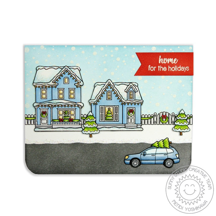 Sunny Studio Stamps Frosty Flurries Winter Home Christmas Card