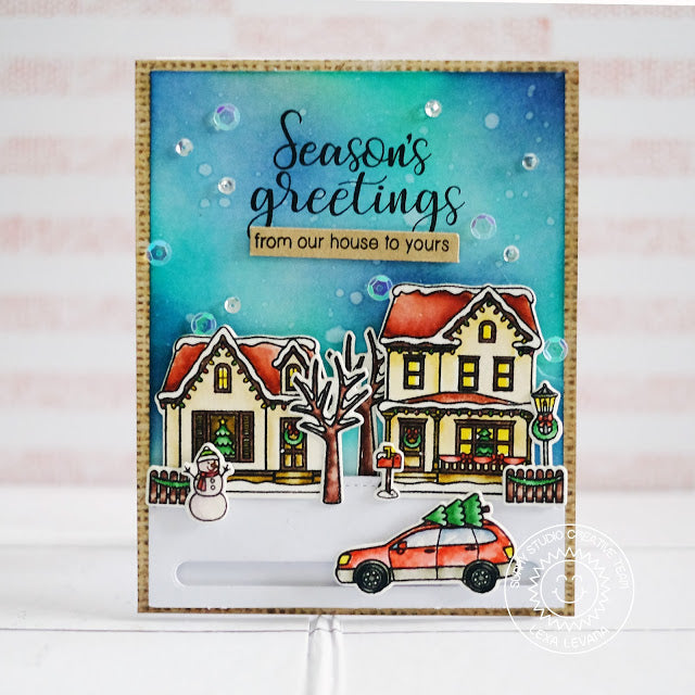 Sunny Studio Stamps Festive Season's Greetings Neighborhood Scene Christmas Card