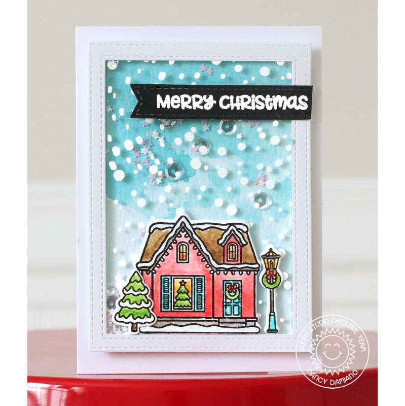 Sunny Studio Stamps Frosty Flurries House Shaker Christmas Card