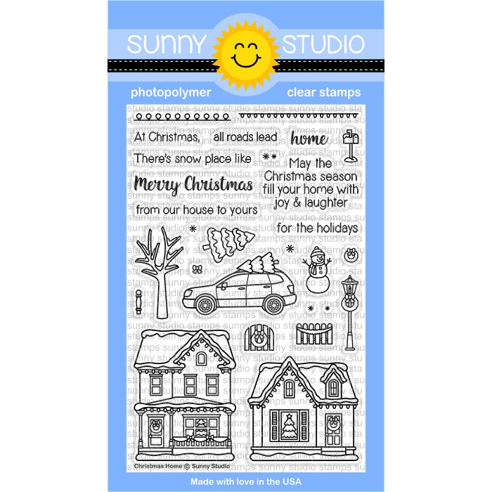 Sunny Studio Stamps Christmas Home Winter Holiday 4x6 Photo-polymer Clear Stamp Set