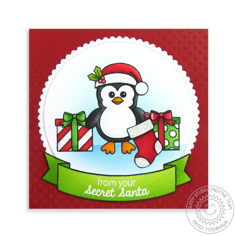 Sunny Studio Stamps Bundled Up Penguin Christmas Stocking & Presents Card