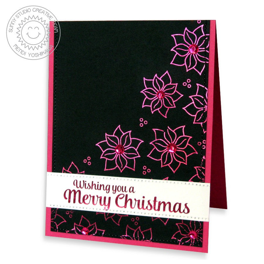 Sunny Studio Stamps Christmas Icons Poinsetta Foil Holiday Card