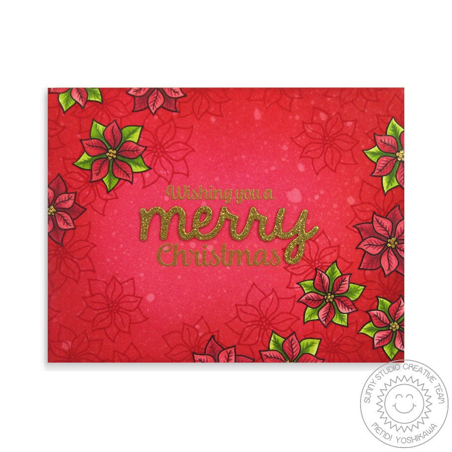 Sunny Studio Stamps Christmas Icons Red & Gold Poinsettia Merry Holiday Card