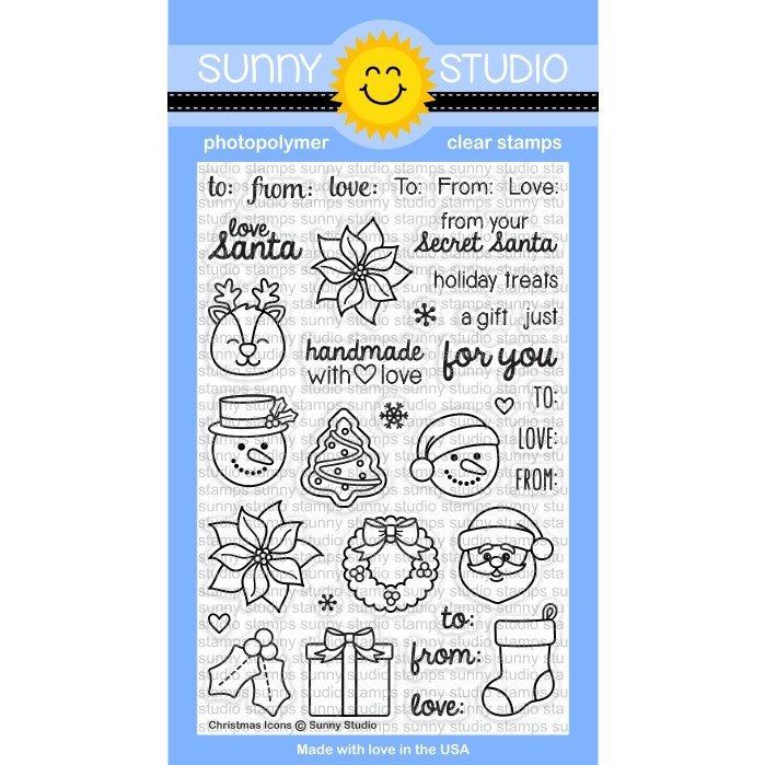 Sunny Studio Stamps Christmas Icons 4x6 Photo-Polymer Clear Stamp Set