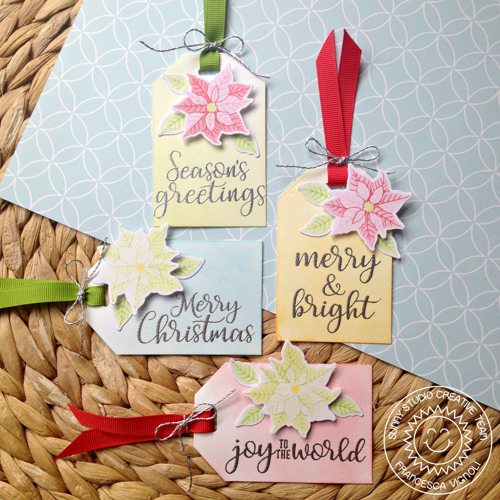 Sunny Studio Stamps Petite Poinsettia Christmas Gift Tags using Traditional Tag Topper dies