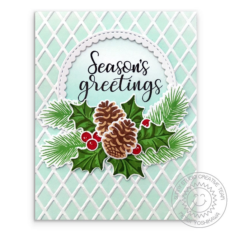 Sunny Studio Stamps Christmas Trimmings Season's Greeting Aqua Embossed Holly & Pinecones card