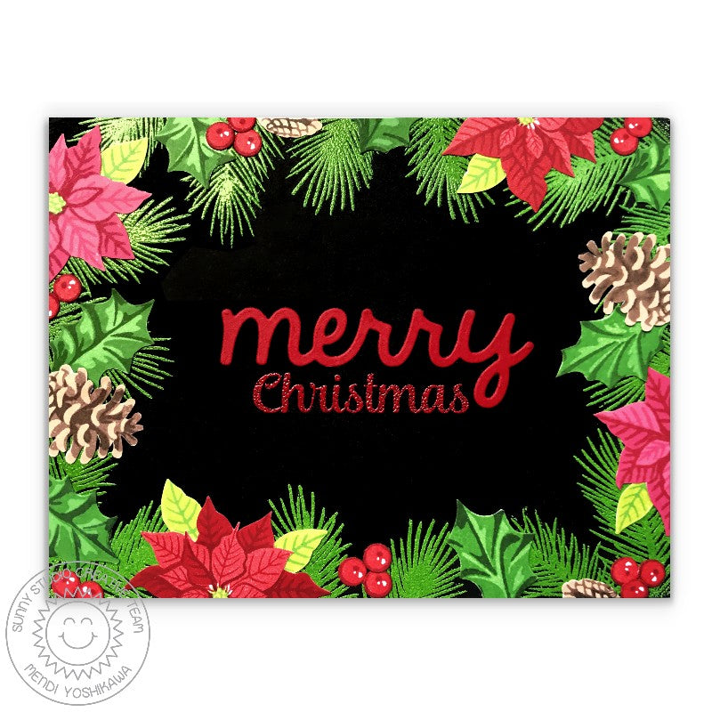 Sunny Studio Stamps Christmas Trimmings Holly, Poinsettia & Pinecone Holiday Card