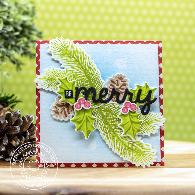 Sunny Studio Stamps Christmas Trimmings Holly & Pinecones Merry Holiday Card