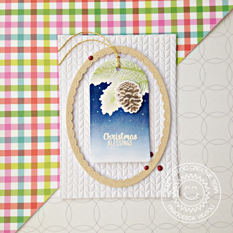 Sunny Studio Stamps Christmas Trimmings Pinecone Tag with Scalloped Oval Frame & Cable Knit Embossing