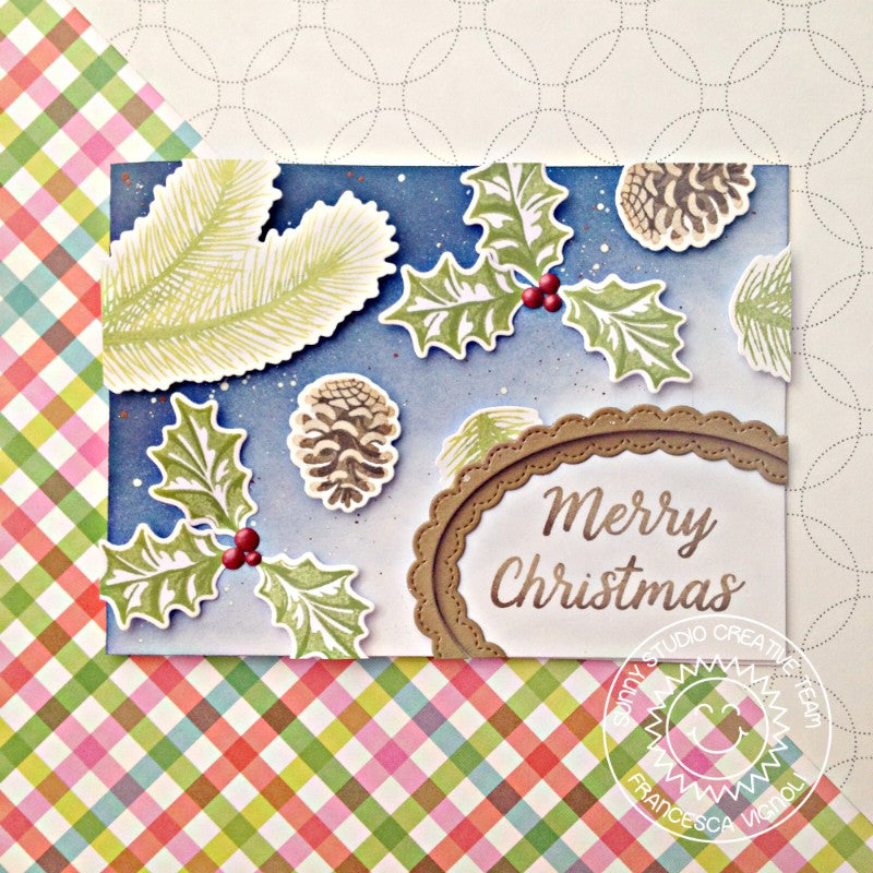 Sunny Studio Stamps Christmas Trimmings Pinecones and Holly Navy Christmas Card by Franci
