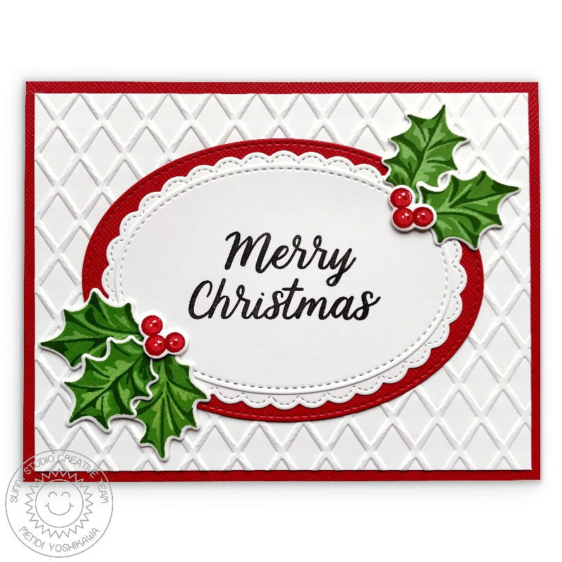 Sunny Studio Stamps Embossed Holly Christmas Card (using Stitched Ovals Nesting Dies)