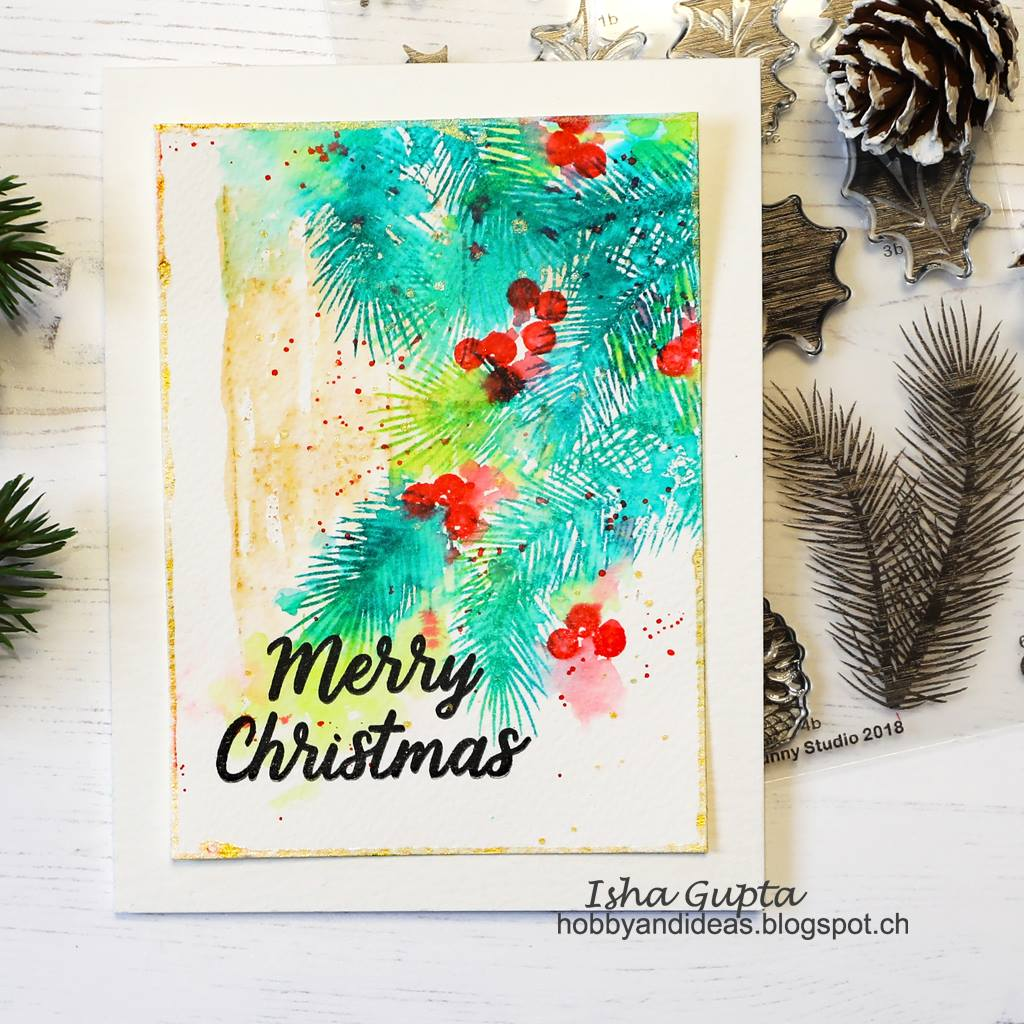 Sunny Studio Stamps Christmas Trimmings Berries and Tree Boughs Watercolor Card by Isha Gupta