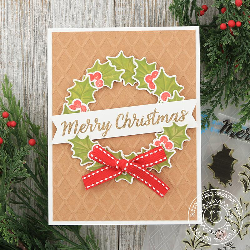 Sunny Studio Stamps Kraft Diamond Embossed Holly Wreath Holiday Card (using Christmas Trimmings Stamps)